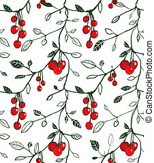 Cherry Berry Seamless Pattern Illustration - Vector EPS8...