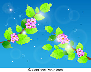 Cherry blossom against blue sky. Vector illustration.