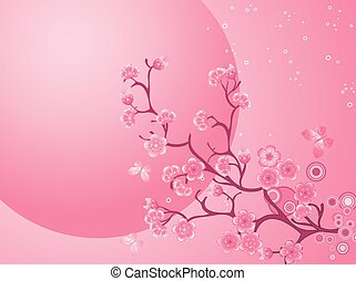 Cherry blossom background. Beautiful nature scene. Spring