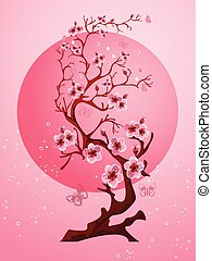 Cherry blossom background. Beautiful spring nature scene
