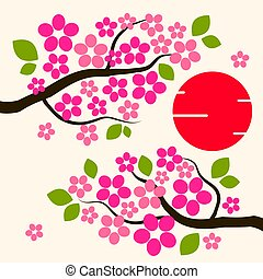 Cherry Blossom Background Sakura Flowers Pink On Branch Flat Vector