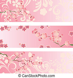 Cherry blossom banner set - Illustration vector