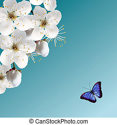 Cherry Blossom & Blue Butterfly