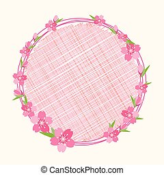 Cherry blossom branch flower on circle background
