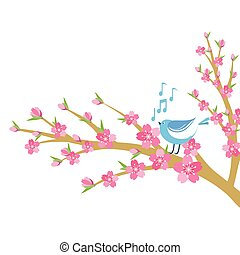 Cherry blossom branch with bird and music notes.