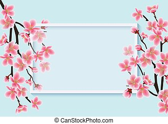 Cherry blossom card template with realistic pink sakura branches