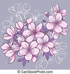 Cherry blossom. Decorative floral illustration of sakura flowers