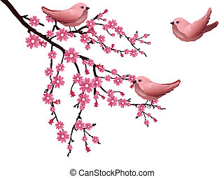 Cherry blossom - Vector illustration of a branch with cherry...