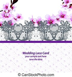 Cherry blossom Lace card frame. Spring delicate flowers Wedding Invitation. Place for text. Vector illustration