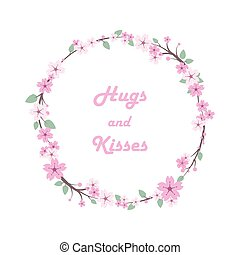 Cherry blossom leaves floral wreath