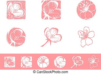 Cherry Blossom Logo Design Set