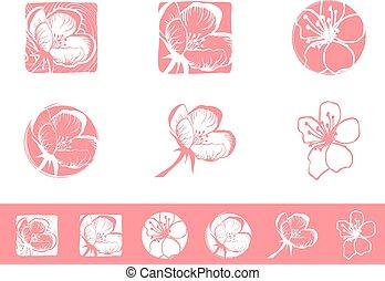 Cherry Blossom Logo Design Set