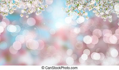 Cherry blossom on defocussed background - 3D render of...