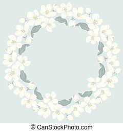 Cherry blossom round pattern on blue background