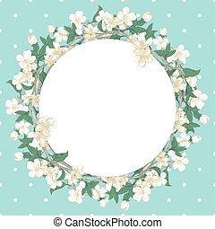 Cherry blossom round pattern on blue polka dot background