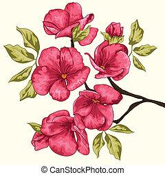 Cherry blossom. Sakura flowers. Floral background. Branch...
