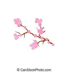 Cherry blossom, sakura flowers icon, cartoon style