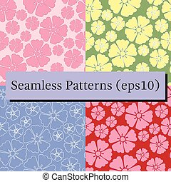 Cherry blossom sakura seamless pattern background set