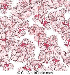 Cherry blossom, sakura seamless pattern.