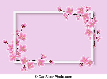 Cherry blossom spring flower frame with realistic 3D texture