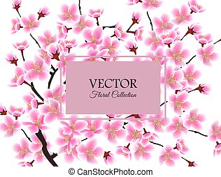 Cherry blossom tree card with text template - rectangle frame