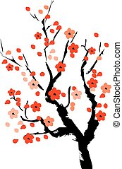 vector cherry tree in blossom