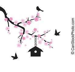 vector cherry blossom with birds and tree house