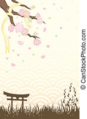 Cherry blossoms - A vector illustration of Spring cherry ...