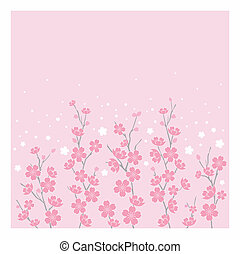 Cherry Blossoms -Hor - Illustration of cherry blossoms on...