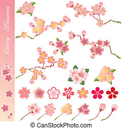 Cherry blossoms icons set - Illustration vector