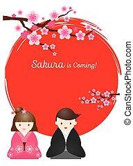 Cherry Blossoms, Japanese Couple - Cherry Blossoms or Sakura...