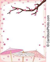 Cherry Blossoms Japanese Umbrella - Background Illustration...