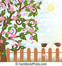 Cherry blossoms near the fence with birds