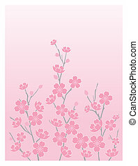 Cherry Blossoms-Vert - Illustration of cherry blossoms with...