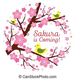 Cherry Blossoms with Bird Heading