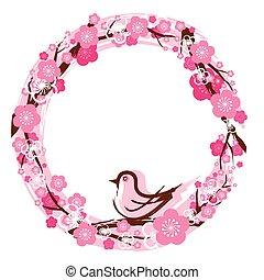 Cherry Blossoms Wreath - Cherry Blossoms or Sakura in...