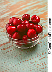 Cherry Bowl on Rustic Table