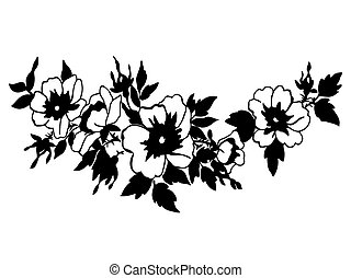 Cherry branches with flowers vector illustration isolated on whi