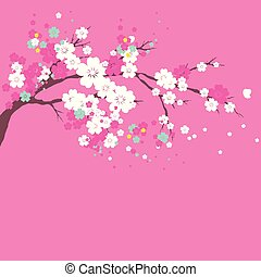 cherry branch,flowers tree , on a white