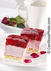 Cherry cake - Beautiful tasty raspberry cake close up shoot