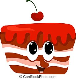 Cherry cake, illustration, vector on white background.