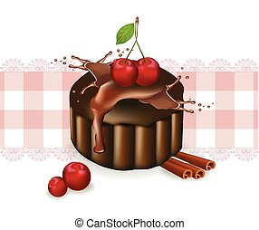 Cherry cake on a vintage pattern. Vector delicious illustrations