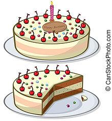 cherry cake - vector illustrator of cherry birthday cake and...