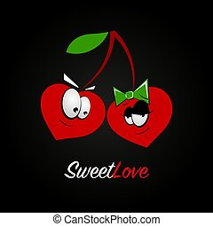 Cherry cartoon with emotions of a couple in love on a black background. Wedding concept, valentines day. Flat illustration, sign, symbol. vector