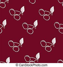 Cherry - cherries on burgundy background, seamless pattern,...