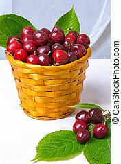 Cherry, Cherry in a clay plate on the table