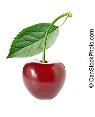 Cherry with leaf on white background (isolated).