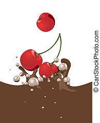 cherry choco splash - illustration of cherries dropping into...