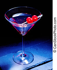Cherry cocktail on black background 30