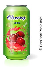 Cherry cola in aluminum can isolated. Berry soft drink package